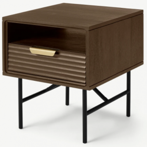 Haines Bedside Table, Mango Wood & Brass
