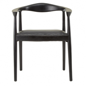 Leather and Black Teak Wood Chair
