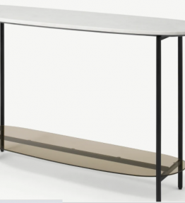 Tiziana Console Table, White Marble & Amber Glass