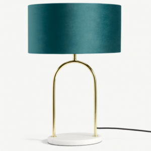 Carmella Table Lamp, Peacock Blue Velvet, Brass & Marble