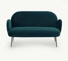Bonnie 2 Seater Sofa, Steel Blue Velvet