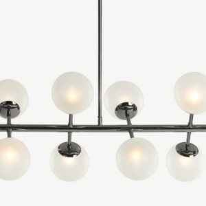 Globe Pendant Chandelier Wide, Black Nickel and Frosted Glass