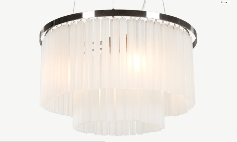 Ophelia Chandelier Pendant, Frosted White Glass