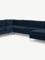 Monterosso Left Hand Facing Corner Sofa, Sapphire Blue Velvet