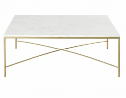 White Marble and Brass Metal Coffee Table