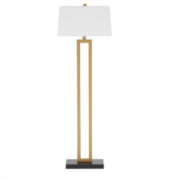 Terminalier Wood Floor Lamp with White Cotton Lampshade H170