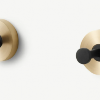 Zenia Set of 3 Wall Hooks, Matt Black & Brushed Brass