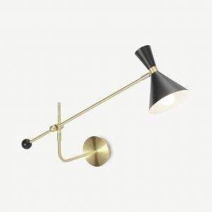 Axton Swing Arm Wall Lamp, Black & Brushed Brass