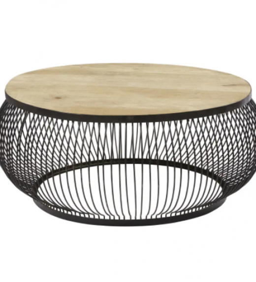Round Black Metal and Solid Mango Wood Coffee Table