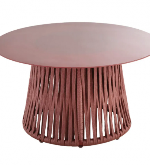 Round Terracotta Metal and Tempered Glass Garden Coffee Table